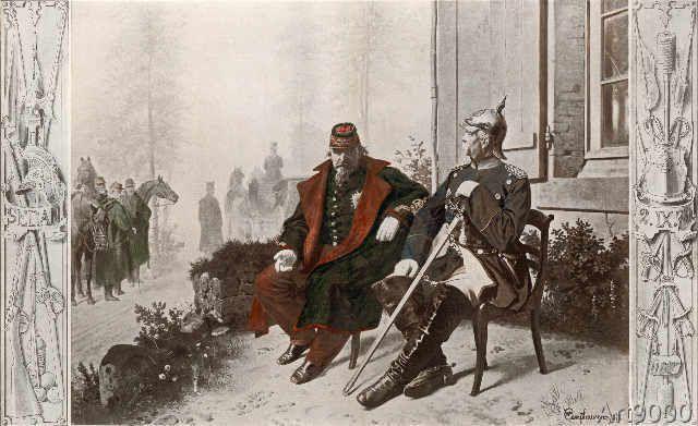 Wilhelm Camphausen: Wilhelm Camphausen - Napoleon III. und Bismarck am Morgen nach (146,0 x 89,0 cm).  Wilh...