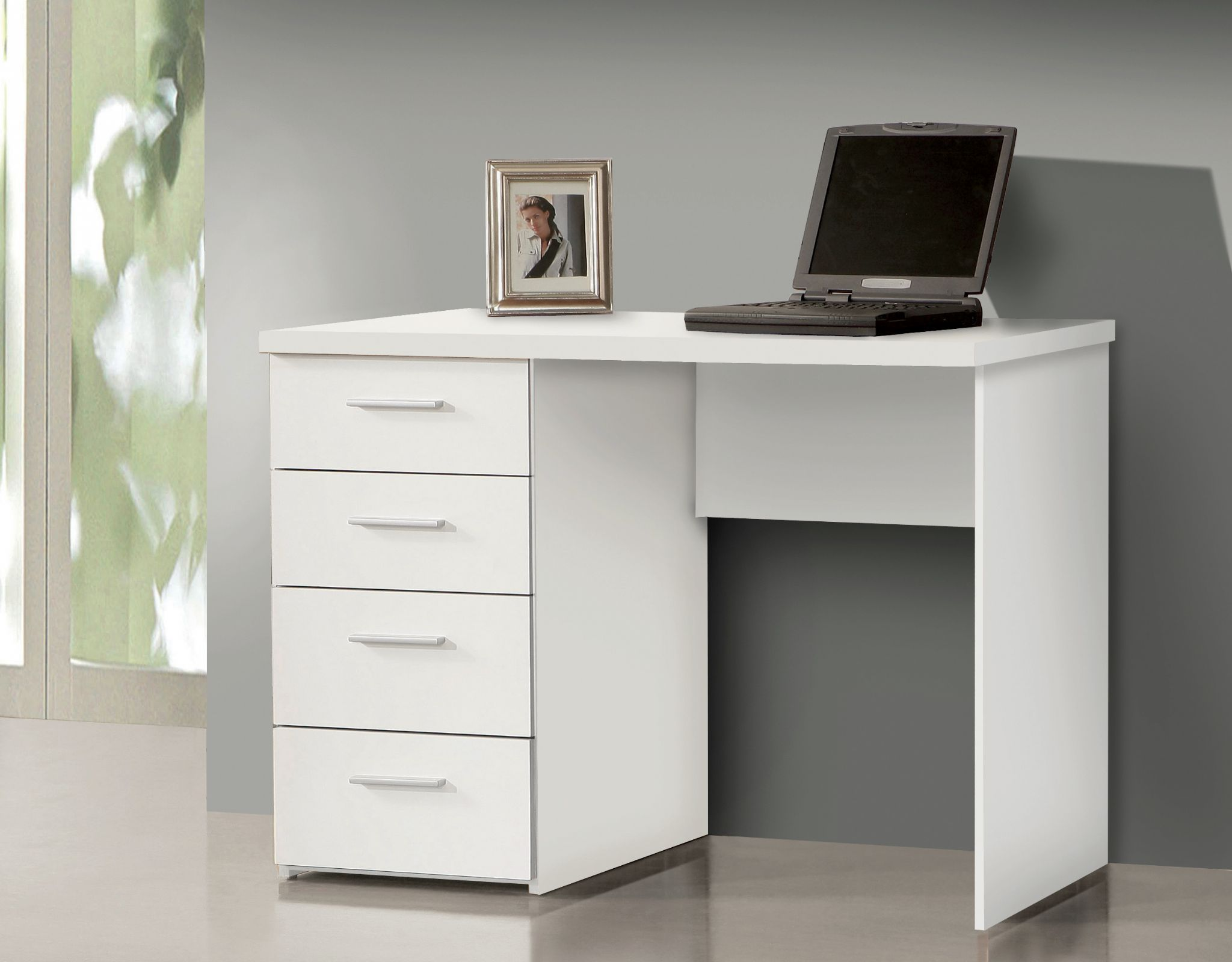 White Desk With Drawers Small