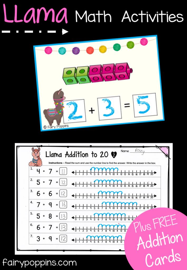 Llama Addition Activities Fairy Poppins Kindergarten Math Activities Math Activities Kindergarten Printables Math Activities