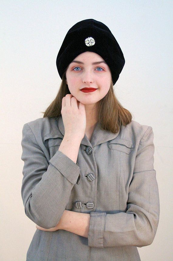 aaff5c63ebf 60s Black Velvet Turban