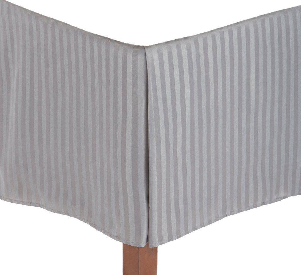 1 Qty Bed Skirt Deep Pocket 8 30 Inch Egyptian Cotton Light Grey Stripe 1000