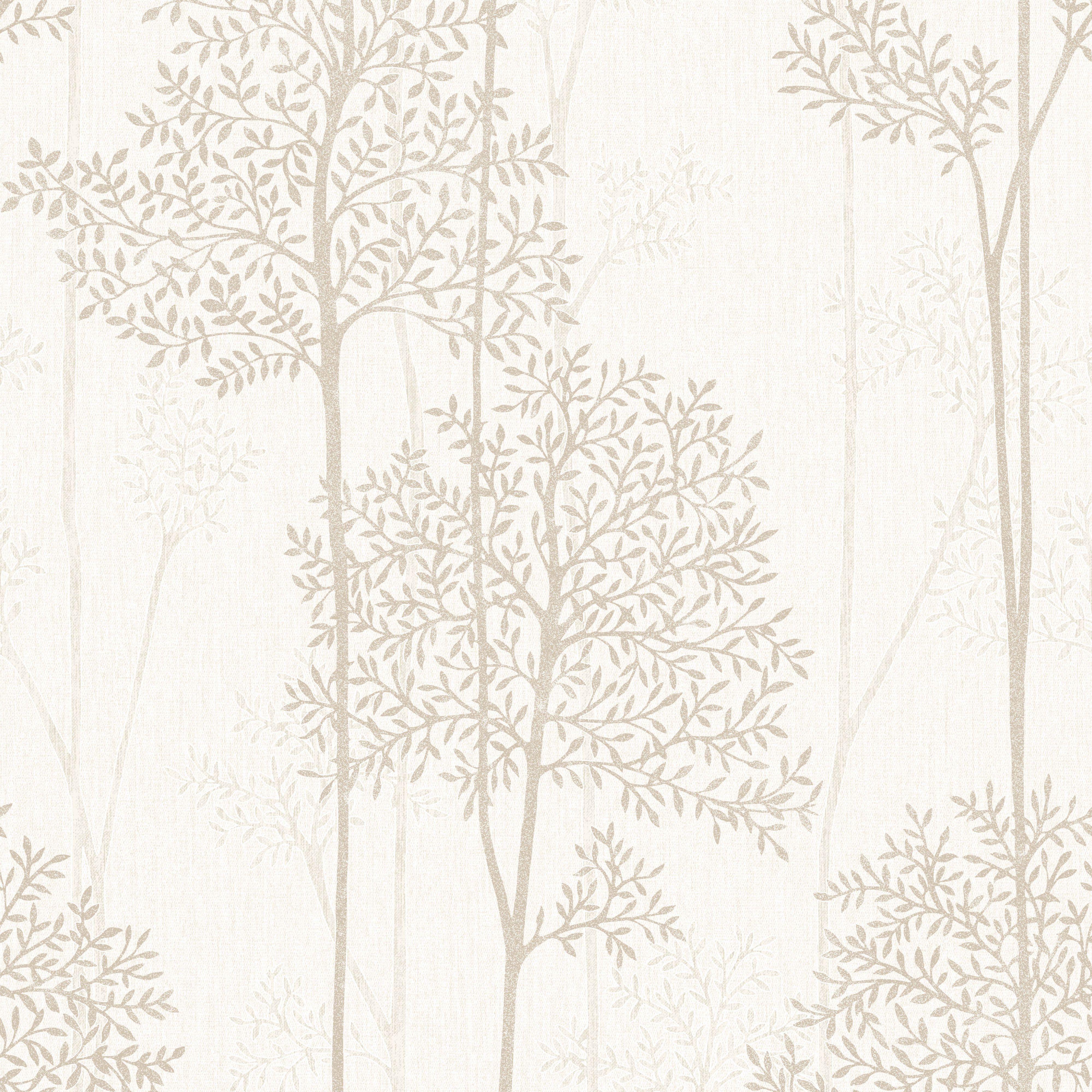 Graham & Brown Eternal Cream & Gold Foliage Glitter Effect Wallpaper