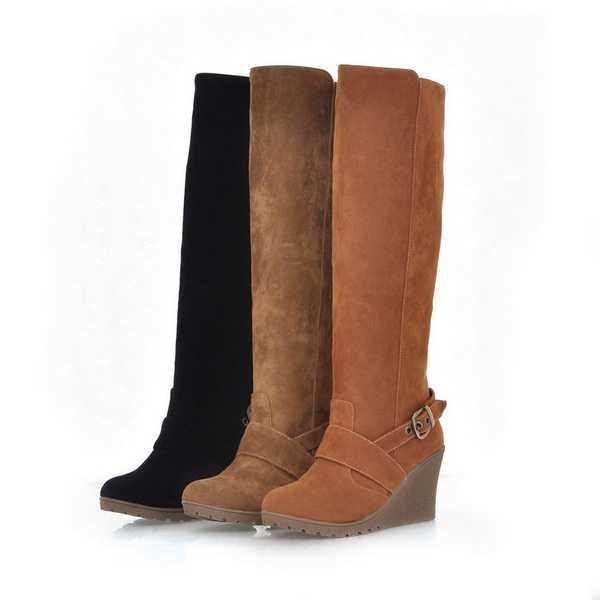 2012 Winter Wedge Knee High Buckle Women Boots Round Toe | [The ...