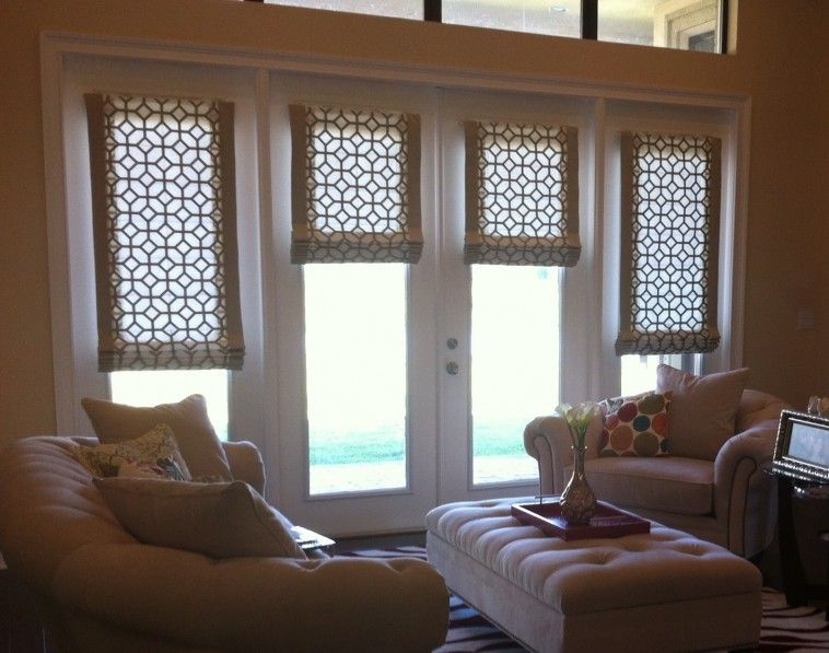 White Wooden French Doors Window With Flat Roman Shade Combined Cream Painted Wall As Well
