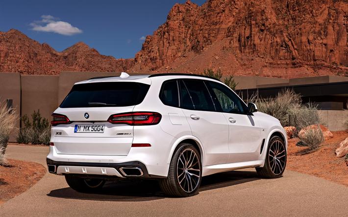 Download Wallpapers Bmw X5 2019 4k G05 Rear View Exterior Luxury Suv New White X5 Rear Lights German Cars Bmw Bmw X5 M Bmw X5 Bmw