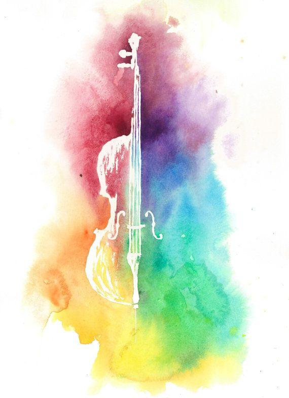 Colorful Cello Silhouette Watercolor Beautiful Bright Rainbow Colors Original Painting Artwork