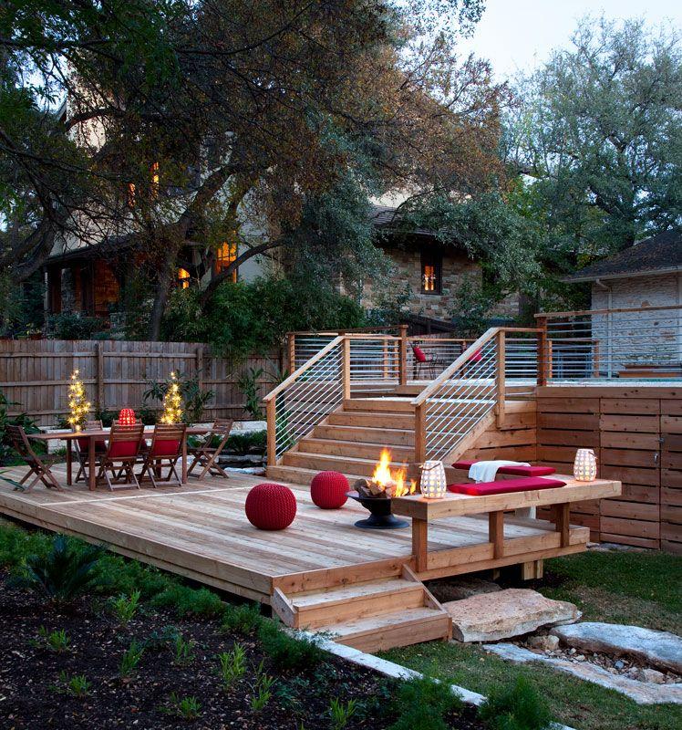 B jane gardens austin landscape design above ground for Above ground pool storage ideas