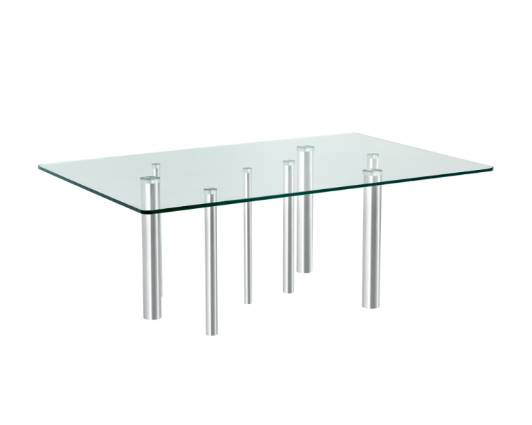 A uniquely designed rectangular coffee table featuring a 10mm tempered glass top and stainless steel legs at varying diameters for contrast and depth. Perfect in modern and contemporary loft spaces.