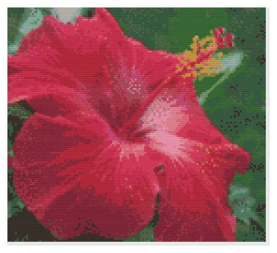Tropical Red Flower Cross Stitch Pattern Color Pattern Just print and start stitching! $0.95
