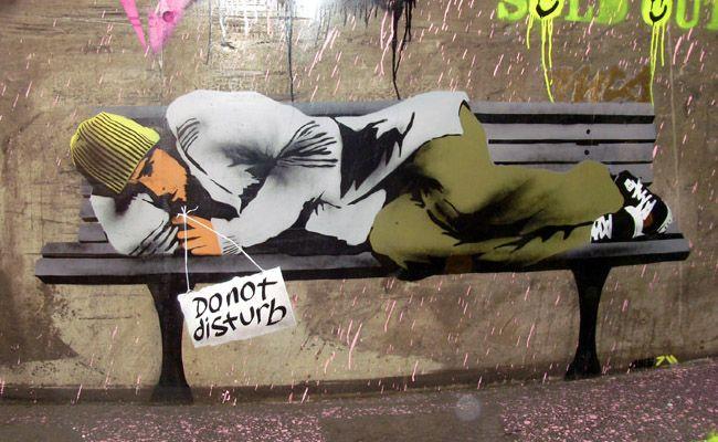 Ame72 do not disturb stencil graffiti cans festival london