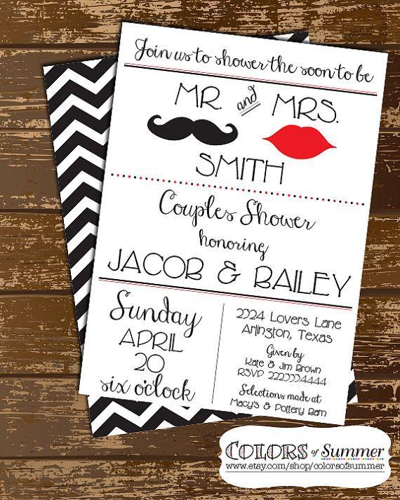 Wedding Couples Shower Invitation Mustache Lips Mr and Mrs – Wedding Couples Shower Invitations