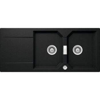 evier encastrer quartz et r sine blanc manhatan 2 bacs. Black Bedroom Furniture Sets. Home Design Ideas