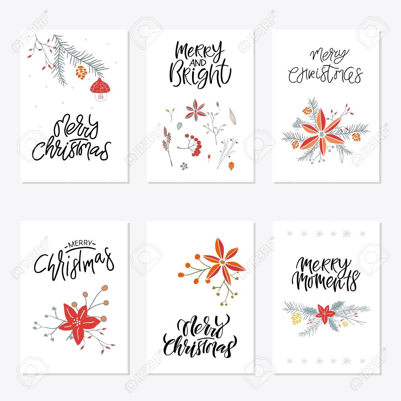 Collection Of 6 Cute Merry Christmas Gift Cards Set Of Six Printable With Printable Holiday Gift Card Template Holiday Card Template Printable Holiday Card