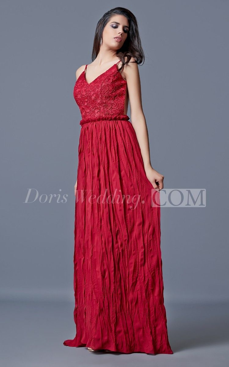 Backless ruched long chiffon prom dress with spaghetti straps red
