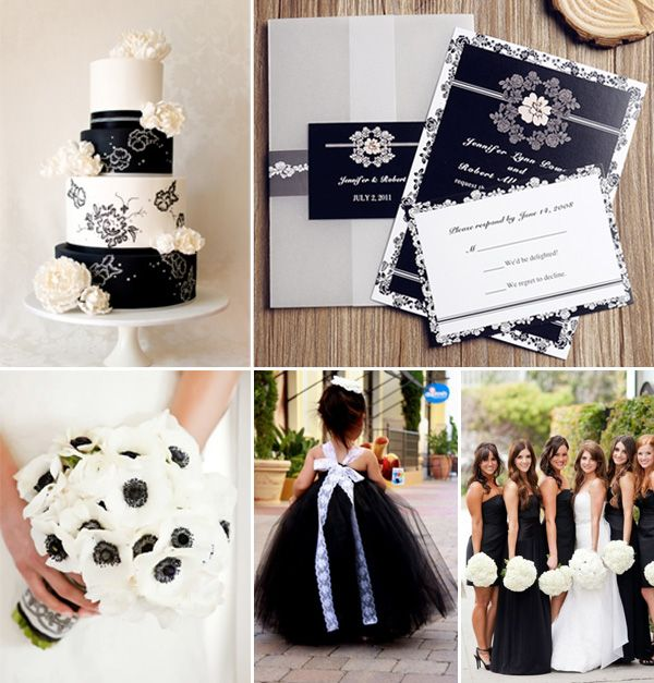 Vintage Black And White Wedding Color Ideas Invitations