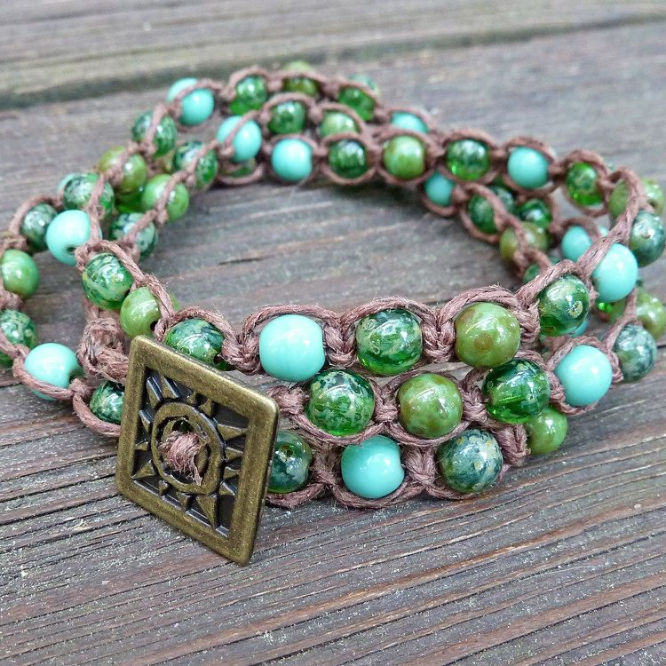 Three Shades of Green Wrap Bracelet - Brown Hemp Macrame Bracelet, Green Glass Beads, Brass Sunburst Button, 3x Wrap. $16.00, via Etsy.