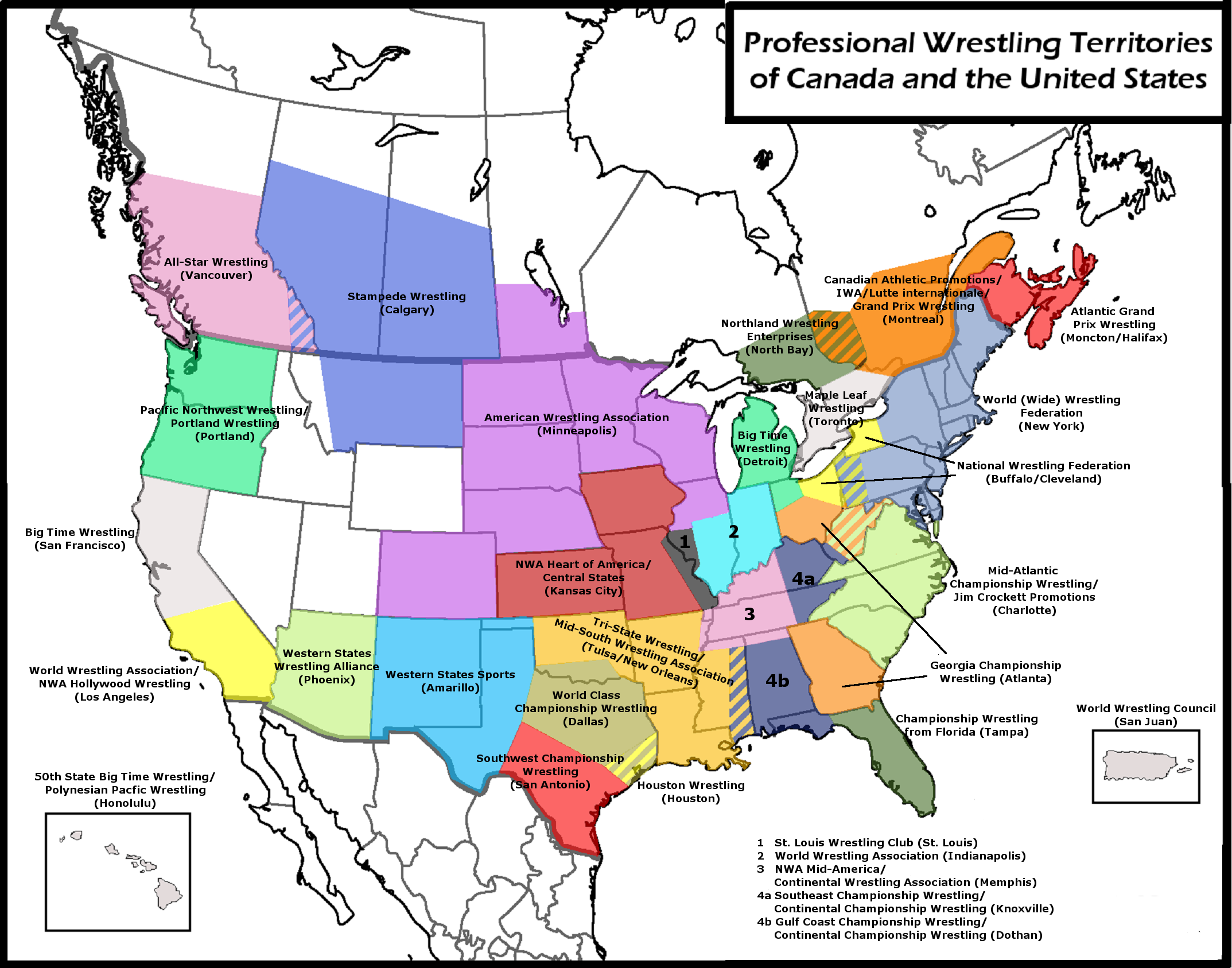 Map Of Old Wrestling Territories Wrestling Art Pinterest - Us map of territories