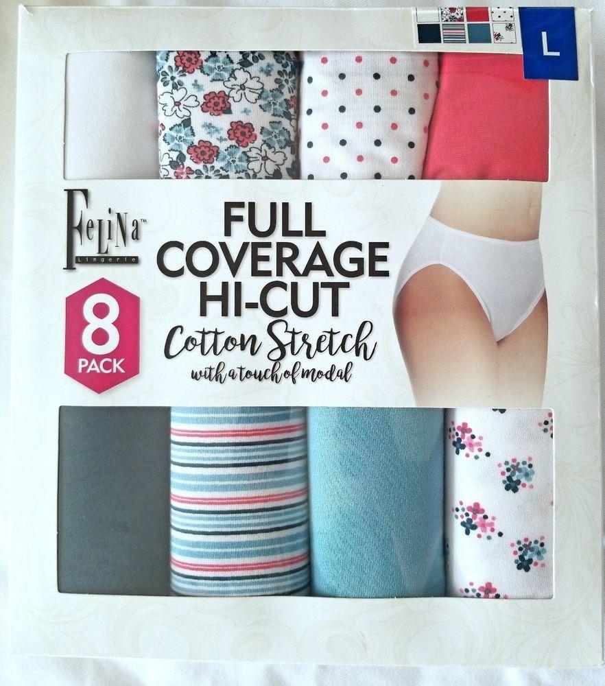 befd6e57c05e Felina 8 Pack Full Coverage Hi-Cut Cotton Stretch Underwear Panties L XL # Felina #BriefsHiCuts