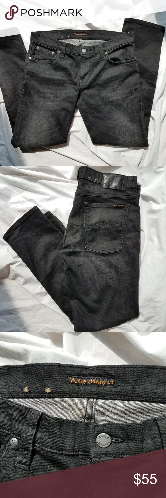 814060bf Nudie Jeans Long John Black Blizzard 33x30 Waist 33, Length 30. Super tight  fit. Gunmetal trims, zip fly. Nudie Jeans Jeans Skinny