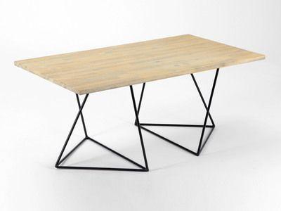 Table à manger en bois et métal longueur 110 cm treteau boron