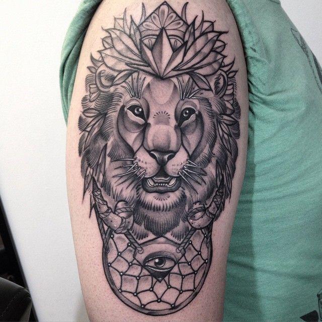 John Mendoza Lion Tattoo Lion Shoulder Tattoo Black Ink Tattoos
