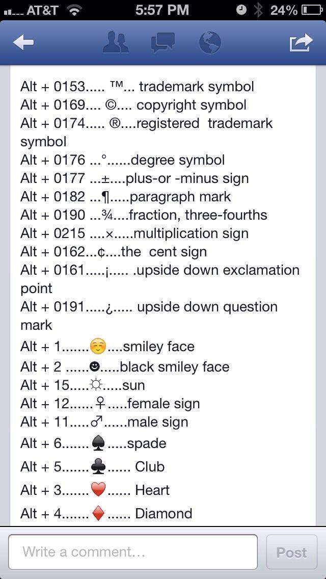 Quick Keys For Symbols Symbols And Life Hacks