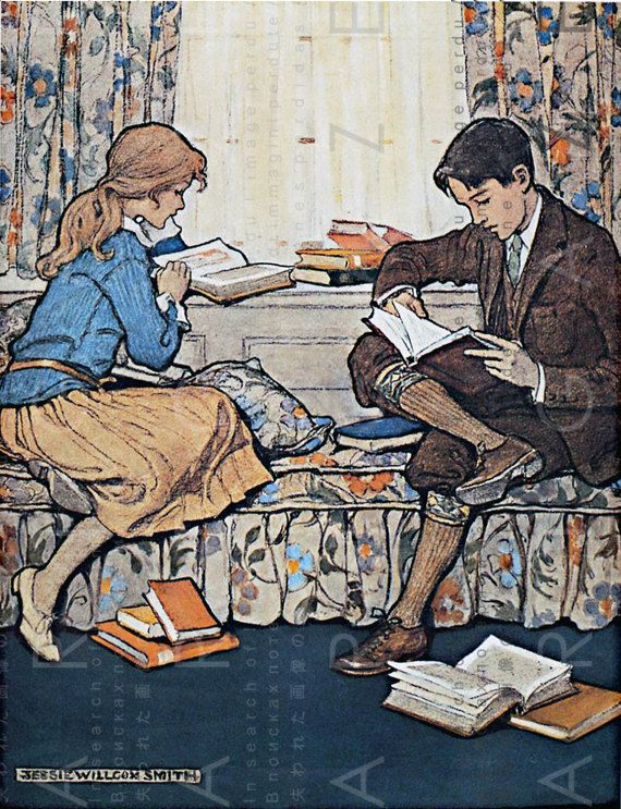 Boy & Girl Sharing Books Vintage Illustration. Children Reading. Book Reading Printable Vintage Image Digital Download #bookspapersandthings