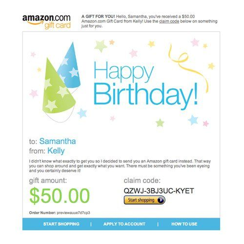 Amazon Gift Card E Mail Happy Birthday Hats 50 00 Gift Card Best Amazon Gifts Amazon Gifts