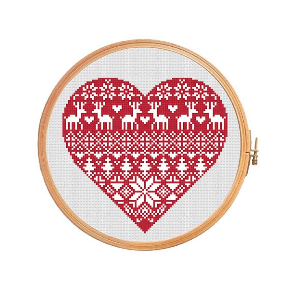 Nordic Heart Cross Stitch Pattern Christmas Heart Traditional Pattern Ornament Merry Christmas Cross Stitch Heart Modern Cross Stitch Cross Stitch Patterns