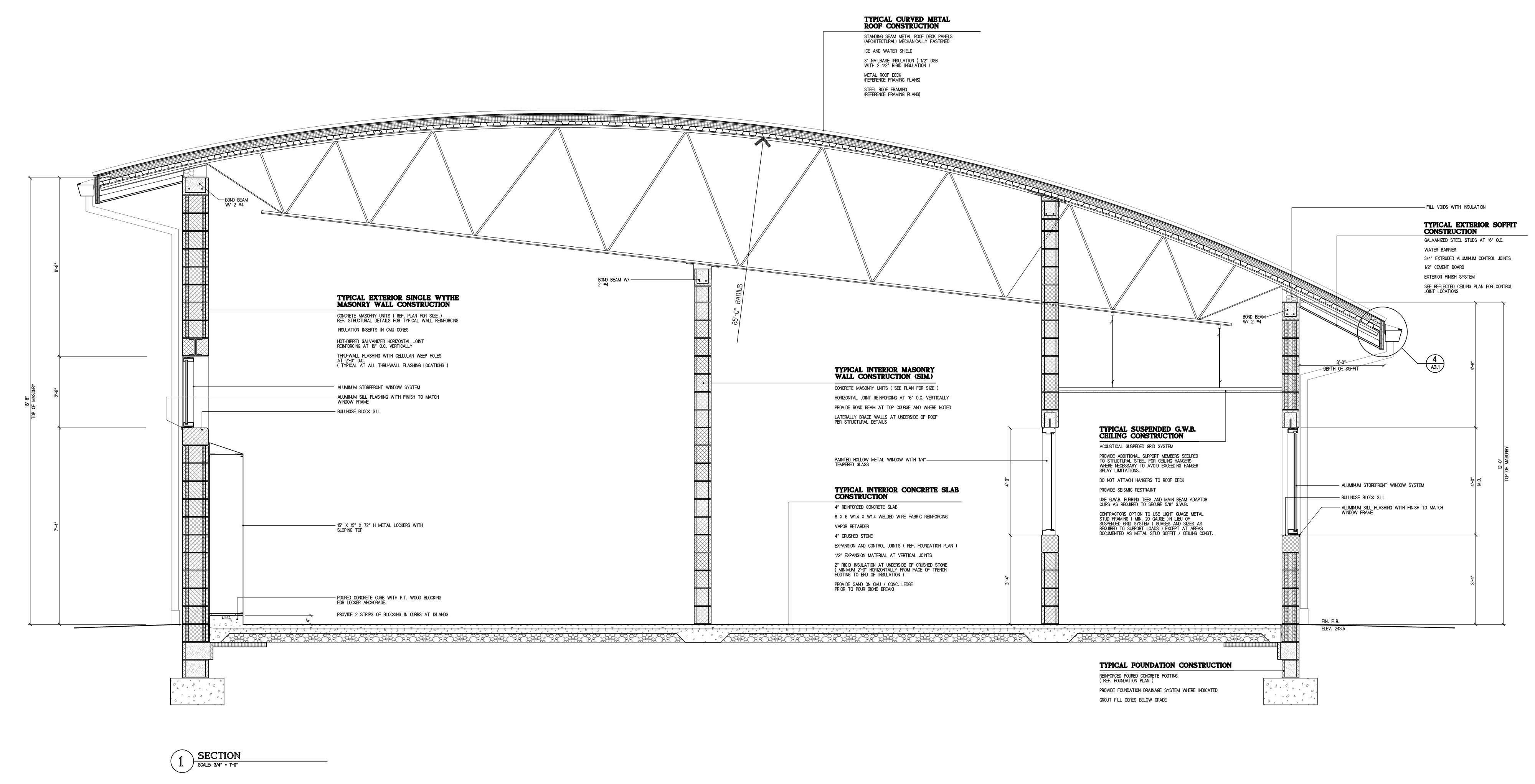 Truss Structure Details Typical Interior Masonry Wall Construction Via Revitcity Com Roof Trusses Roof Styles Roof Construction