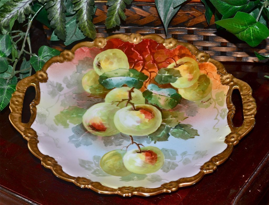 Limoges Cake Plate Hand Painted Golden Apple Decor Signed Master French Artist Rancon