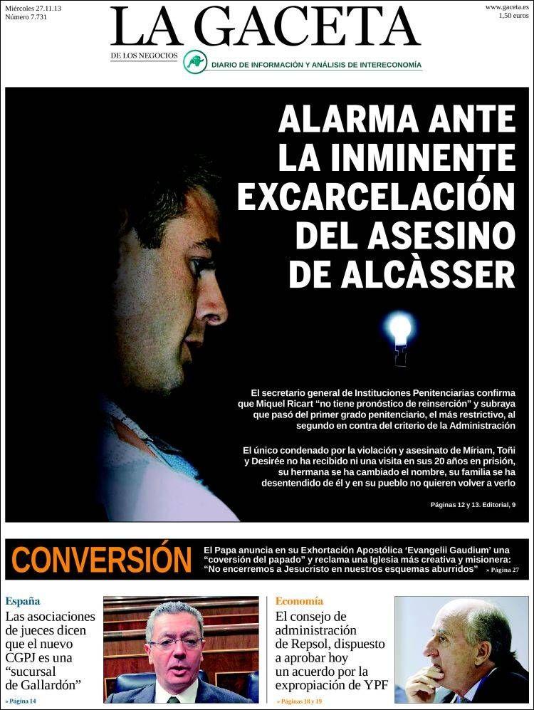 Los Titulares y Portadas de Noticias Destacadas Españolas del 27 de Noviembre de 2013 del Diario La Gaceta ¿Que le pareció esta Portada de este Diario Español?
