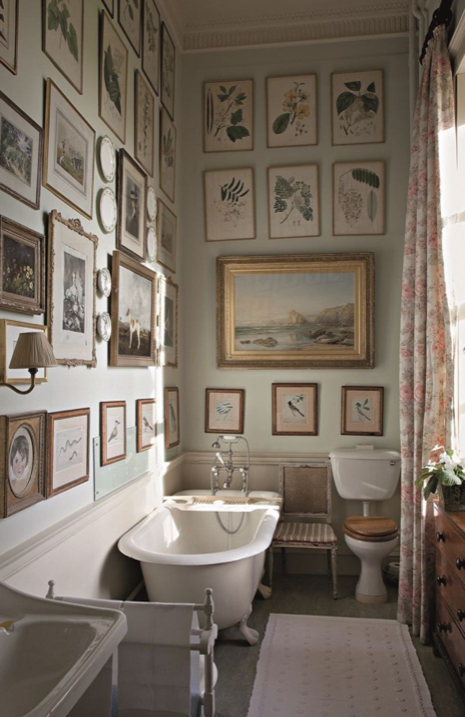 Period Style Bathroom Interior With Antique Bath And Sink