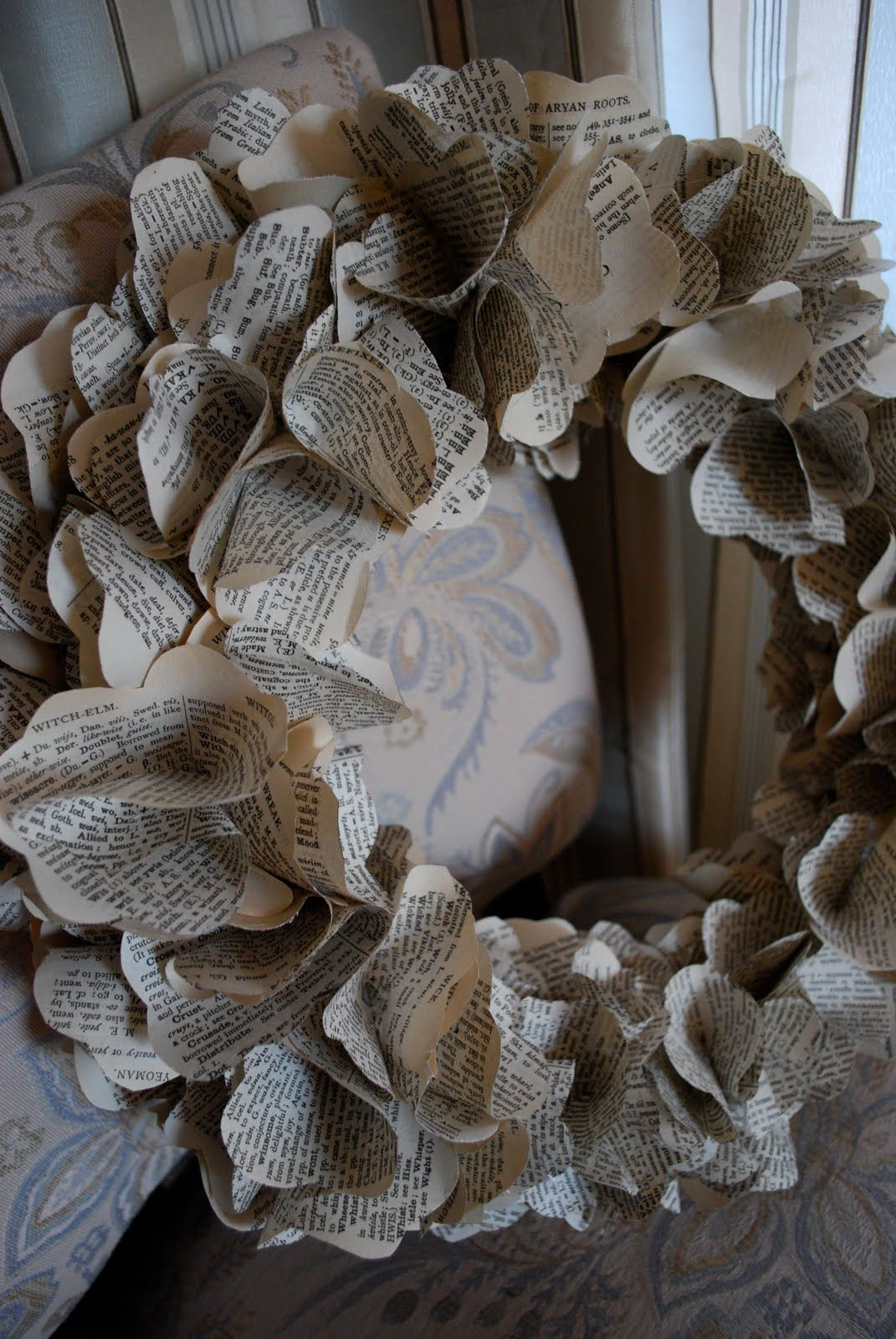 re-purposed book pages = wreath