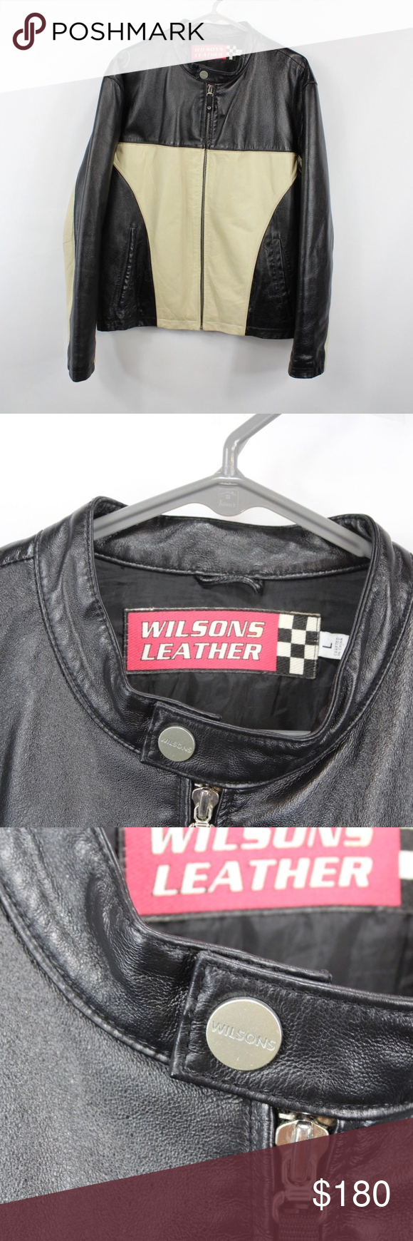 Wilson Leather Full Zip Motorcycle Jacket Black Wilsons