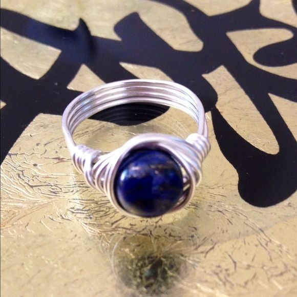 Lapis Wrap Ring  Beautiful! Top quality Lapis Gemstone Handwrapped with Sterling Silver Plated Wire! Size 7 or Custom size available. Jewelry Rings