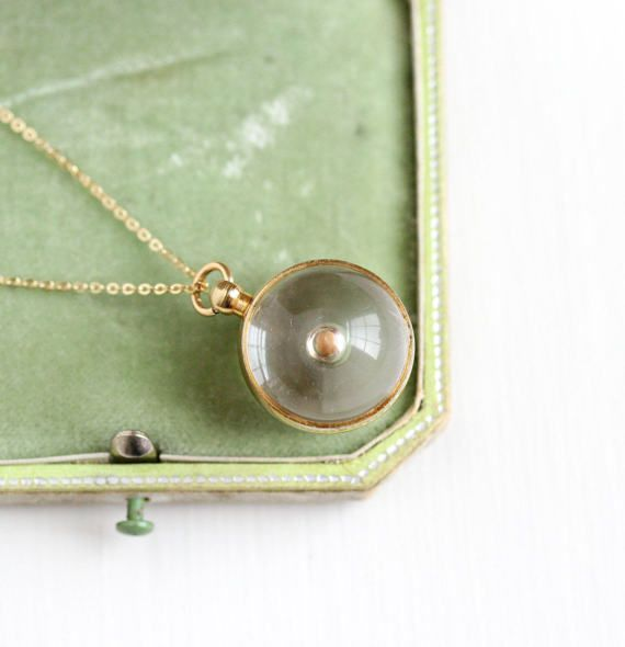 Vintage Clear Lucite Mustard Seed Pendant Necklace Retro 1950s Spherical Orb Charm Symbolic Faith Change 14k Gold Filled Chain Jewelry Retro Necklaces Clear Lucite Gold Filled Chain