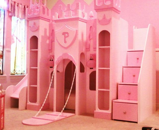 Pink Princess Bunk Bed Kids Room Rugs Castle Bed