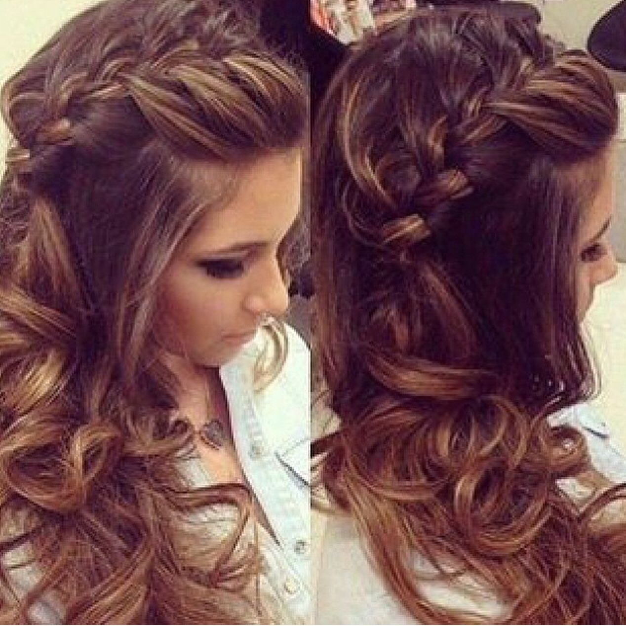 Love The Hairdo Brunette Braid Fancy Hairstyle Braids For Long Hair Long Hair Styles Hair Styles