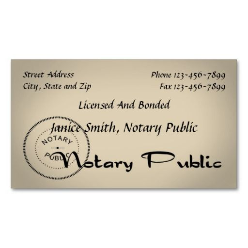 Notary Public Business Card Notary Public Business Notary