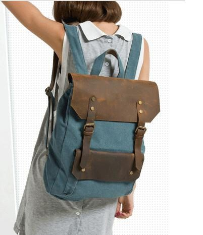 Blue Big Leisure men's and women's  Leather door canvasleatherbag, $49.99