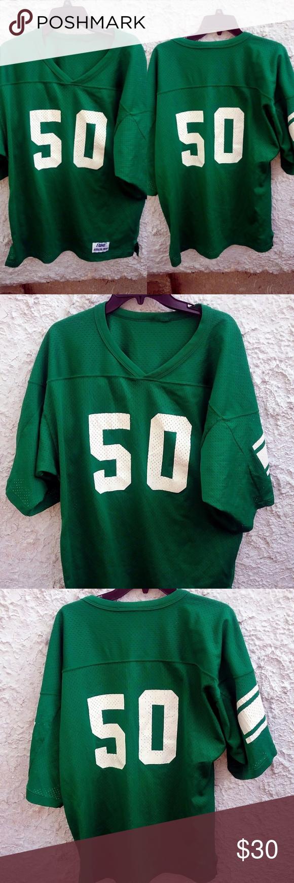 2605a9de7ab Vintage 80s BIKE Football Jersey #50 Eagles Jets L Vintage 80s Bike football  jersey. Can be used for the Philadelphia Eagles or New York Jets. Green  color ...