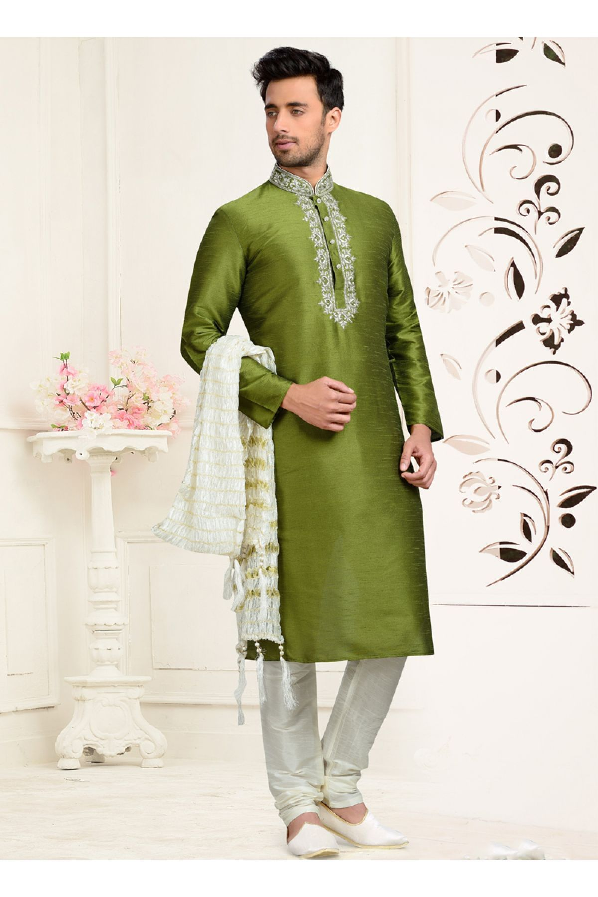 8ac8675a35 This Kurta Pajama Is Perfect One Crafted With Embroidery Work. The Green  Colour Kurta Is