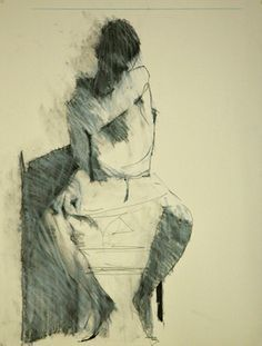 seated Figure With Hand on Shoulder - Drawing by Mark Horst