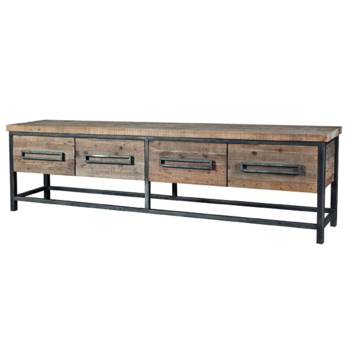 Sideboard Holz Metall Sideboard Industrial Mit Vier Schubladen