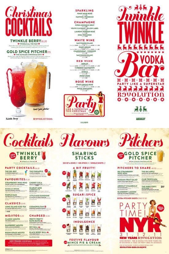 Retro Christmas Menu, Graphic Design, Typography, Bar Menu