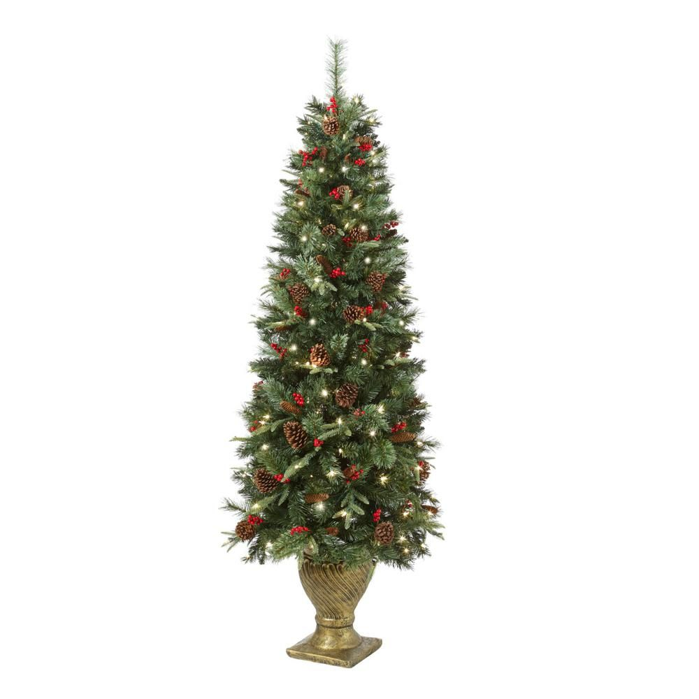 Home Accents Holiday 6.5 ft. PreLit Potted Artificial