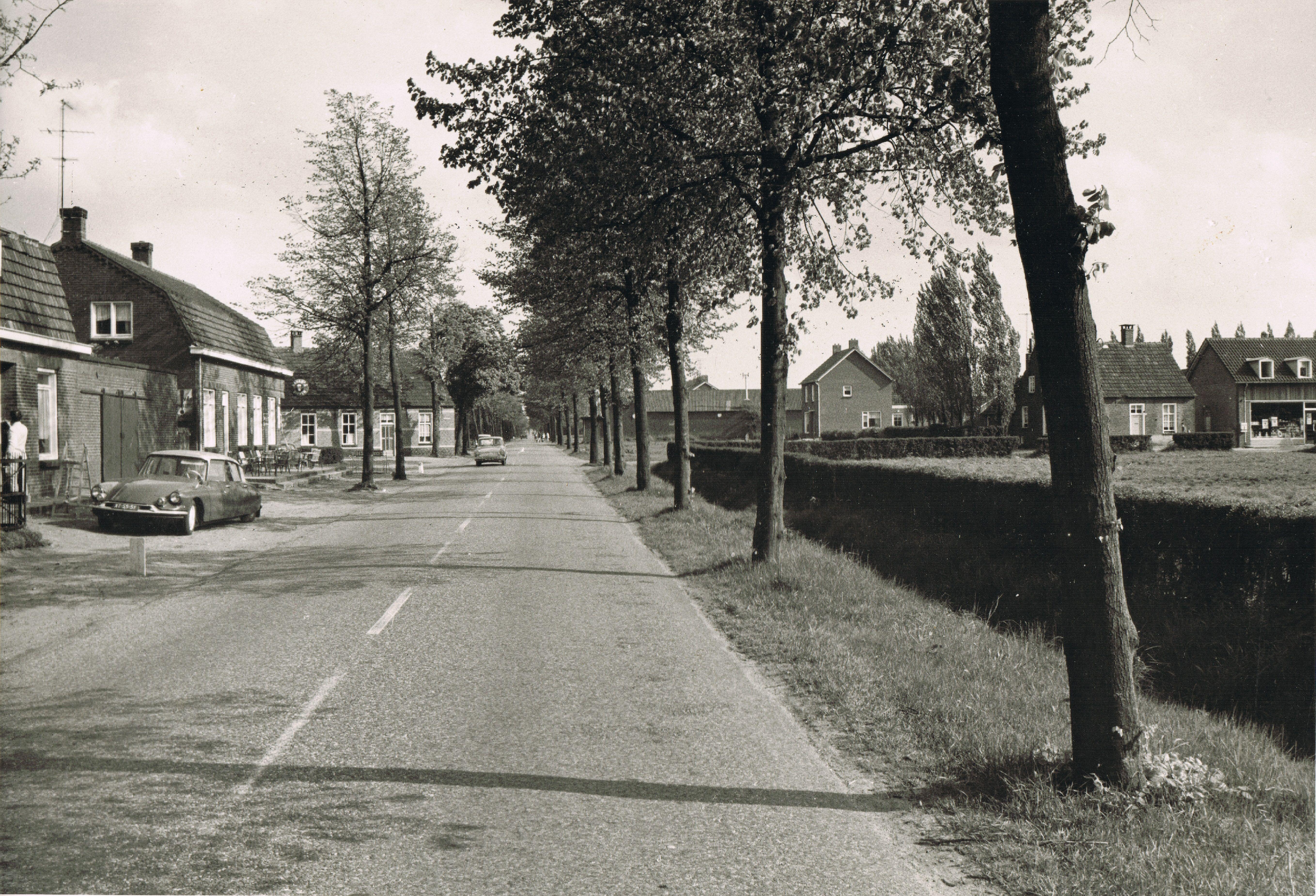 Martien Giebels: 1964-5-20 Voorste Heusden-Meijelseweg-Vorstermansplein - Heusden (gem. Asten). Links Café Vervoordeldonk, rechts het Vorstermansplein met toen nog grasveld, de woningen van Toon en Piet Lammers en de Vegé winkel van Peeters en Toos als winkelbediende.