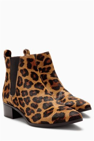 Leopard Print Pony Look Leather Point Chelsea Ankle Boots