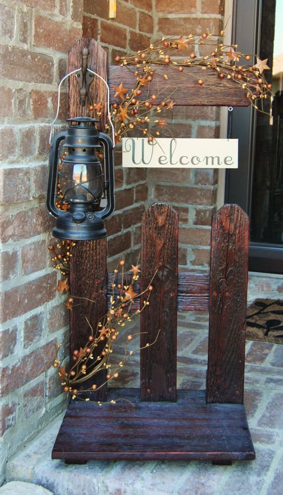 Welcome Sign Primitive Decor Rustic Home Lantern Holder Picket Fence Country Decorating Homes